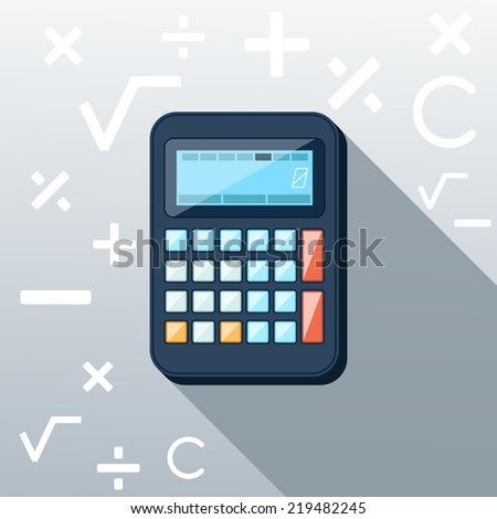 Calculator icon with mathematical symbols multiplication division plus minus construction background in the root flat design long shadow style - stock vector
