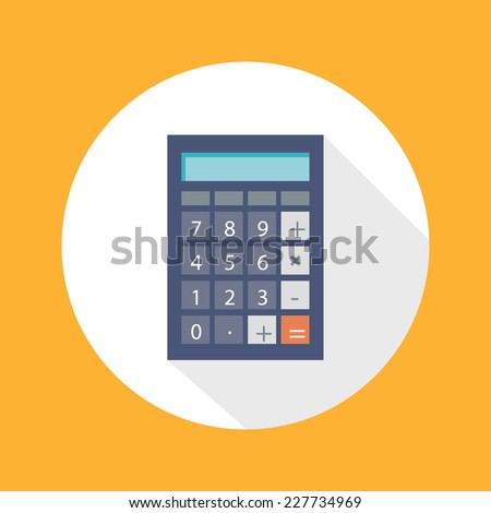 Calculator icon with mathematical symbols multiplication division plus minus construction flat design long shadow style - stock vector