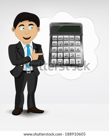 calculator in bubble idea concept of man in suit vector illustration