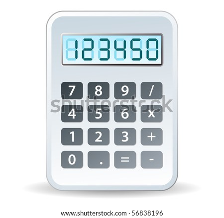 calculator in white tones for tax - stock vector