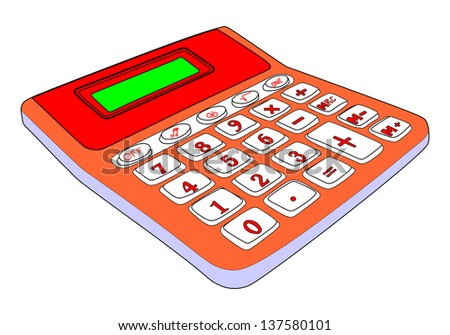 Calculator isolated on a white background with blank screen - stock vector
