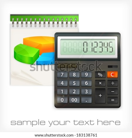 Calculator & notepad diagram economical concept, vector illustration - stock vector