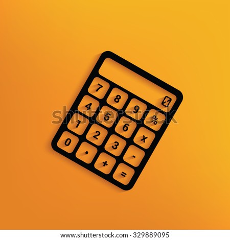 Calculator on yellow background,clean vector - stock vector