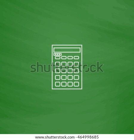 Calculator Outline vector icon. Imitation draw with white chalk on green chalkboard. Flat Pictogram and School board background. Illustration symbol