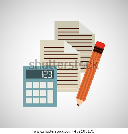 calculator paper pencil isolated, vector illustration eps10