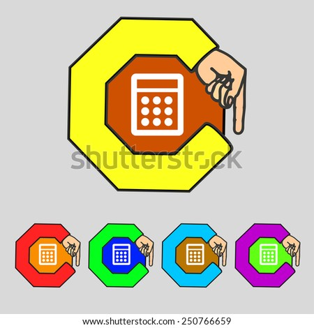 Calculator sign icon. Bookkeeping symbol. Set colourful buttons. Vector illustration - stock vector