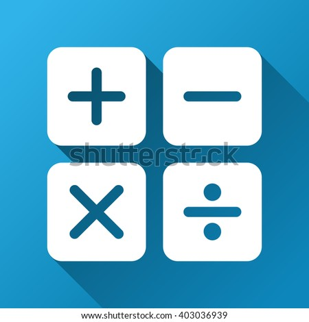 Calculator vector toolbar icon for software design. Style is a white symbol on a square blue background with gradient long shadow.