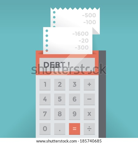 Calculator with deficit balance and Debt! word on screen. Idea - Bankruptcy, Business failure and recession, Credit and Debts concepts. - stock vector