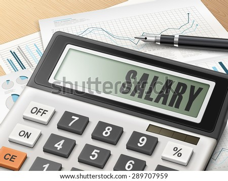 calculator with the word salary on the display - stock vector
