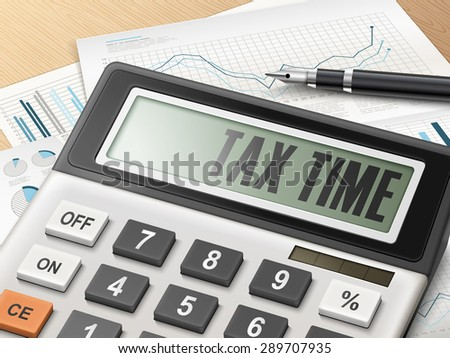 calculator with the word tax time on the display