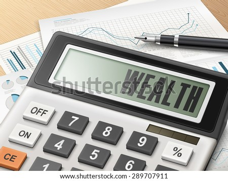 calculator with the word wealth on the display