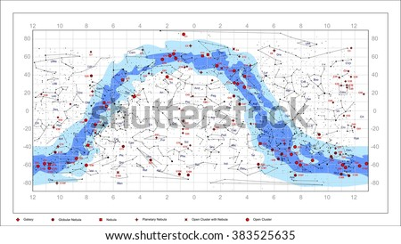 Caldwell Catalogue deep sky objects. It contains constellations, the names of constellations, nebulae, galaxies, star clusters. Everything in editable vector layers. - stock vector