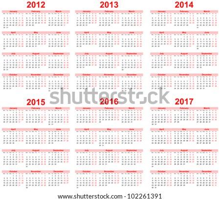 Calendar 2012 2013 2014 2015 2016 Stock Vector 114682093 ...