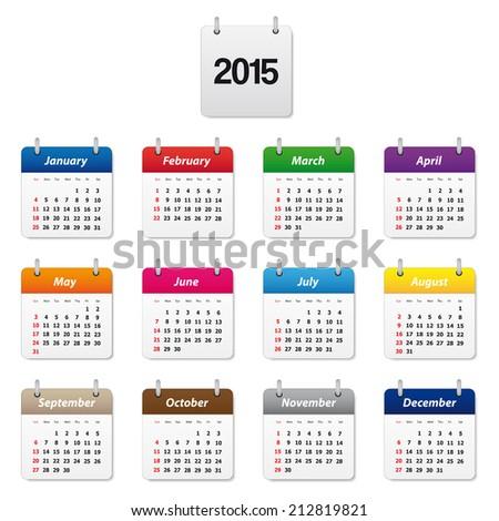 Calendar 2015 - stock vector