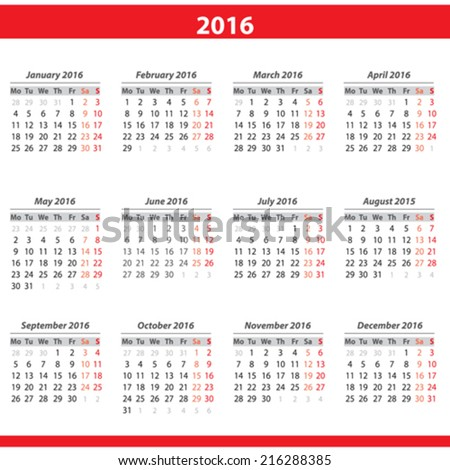 Calendar 2016 - stock vector