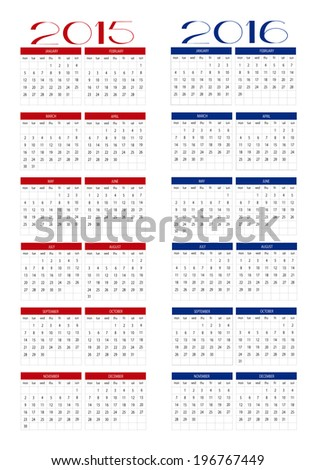 Calendar 2015 and 2016 in english - stock vector