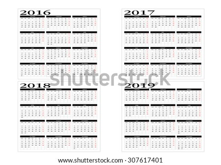 Calendar 2016, 2017, 2018 and 2019 in English