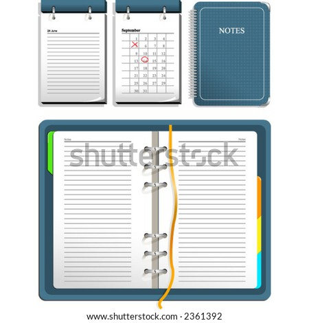 Calendar and notebook - open and closed - stock vector