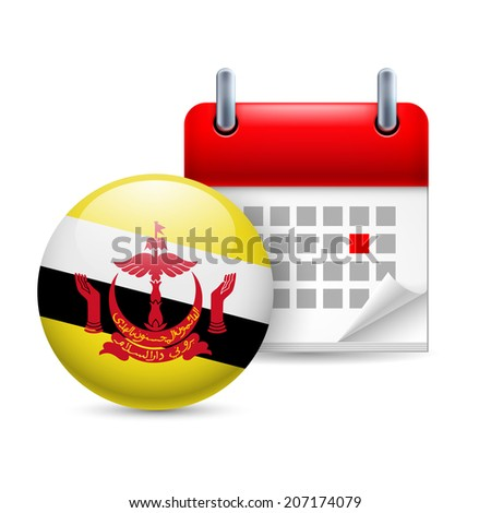 Calendar and round Bruneian flag icon. National holiday in Brunei