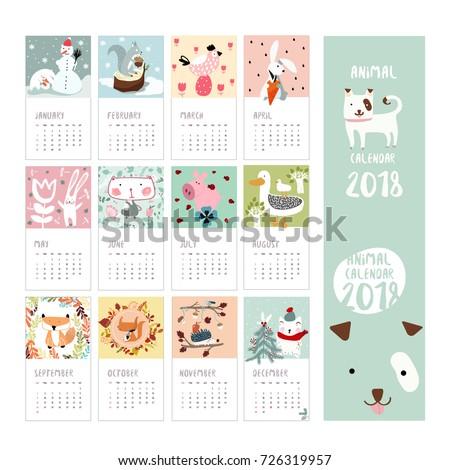Calendar Animals Dog 2018 Banner Pattern Stock Vector 726319957