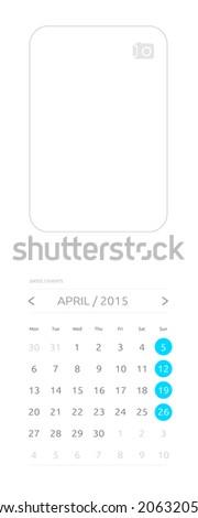 Calendar 2015, april - stock vector