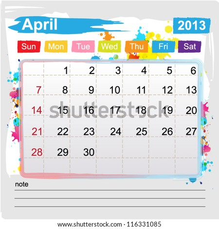 Calendar April 2013 , Abstract art style
