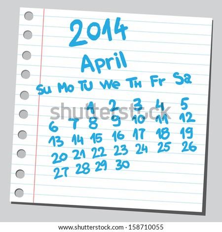 Calendar 2014 april (sketch style)  - stock vector