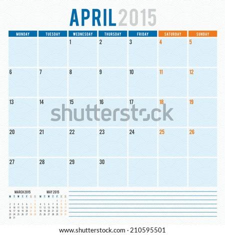 Calendar 2015 April vector design template - stock vector