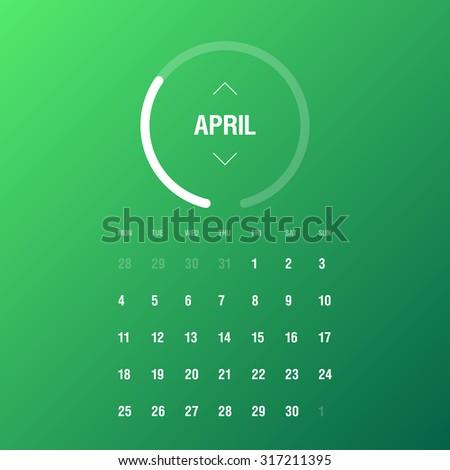 Calendar 2016. April. Week Starts Monday - stock vector
