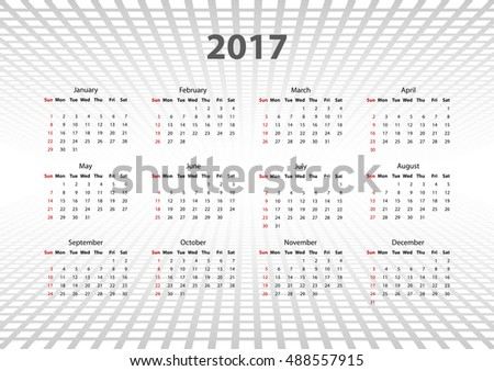 calendar 2017 at abstract background