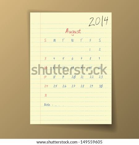 Calendar 2014 August in sketch style on notebook sheet. Vector illustration.