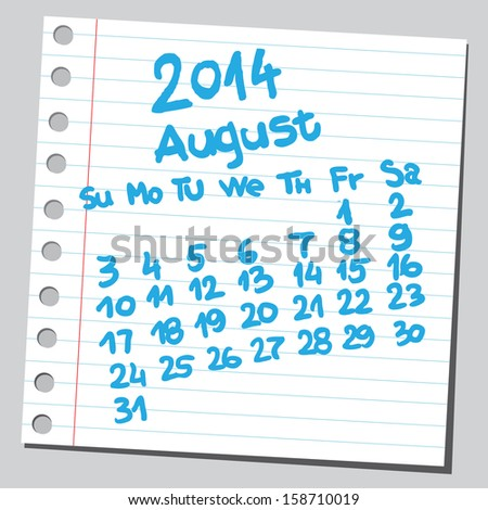 Calendar 2014 august (sketch style)  - stock vector