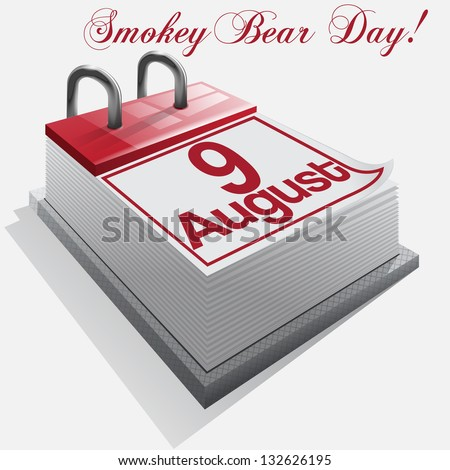calendar 9 August, Smokey Bear Day . Vector - stock vector
