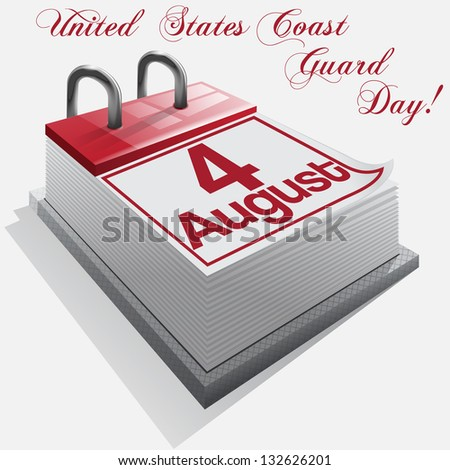 calendar 4 August, United States Coast Guard Day . Vector - stock vector