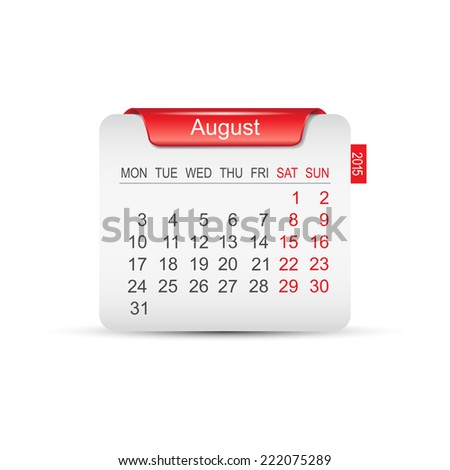 Calendar August 2015. Vector illustration  - stock vector