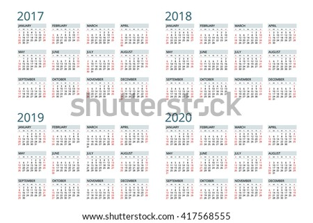 Calendar 2017, Calendar 2018, Calendar 2019, Calendar 2020, Calendar vector, Calendar design, Calendar flayer, Calendar banner, Calendar isolated, Calendar flat, Calendar date, Calendar modern - stock vector