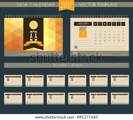 Calendar 2017. Calendar for the beer companies & restaurants, pubs and cafes. Vector beer bottle on a colorful background.