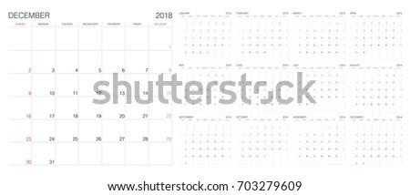 Calendar. 2018 Calendar. Vector print template.