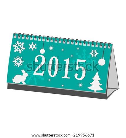 Calendar 2015 cyan isolated on white - stock vector