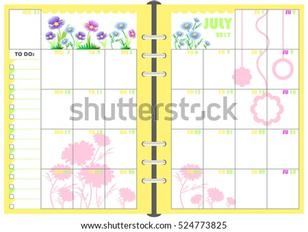 Calendar Daily Planner Template Monthly May Stock Vector 524773792