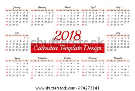 daily calendar 2018