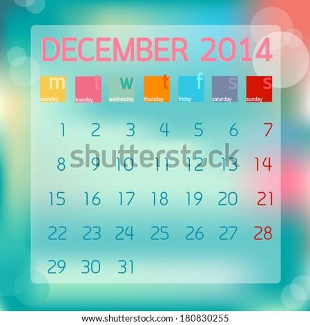 Calendar December 2014, Flat style background, vector illustration - stock vector