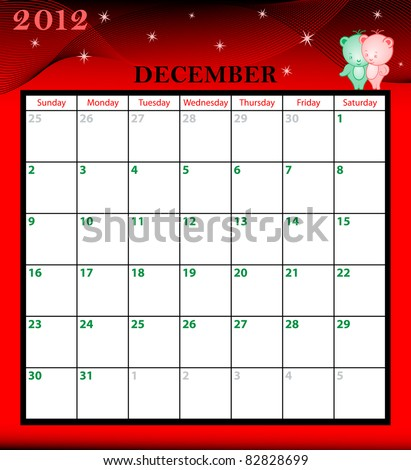Calendar 2012 December month with large date boxes. Cartoon characters and patterned background. Raster also available. - stock vector