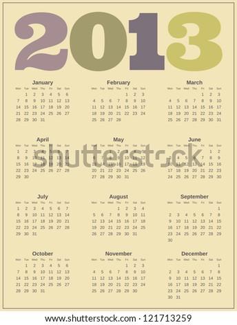 Calendar design for 2013. - stock vector