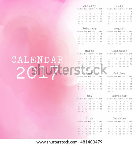Calendar design for 2017 with watercolor effect