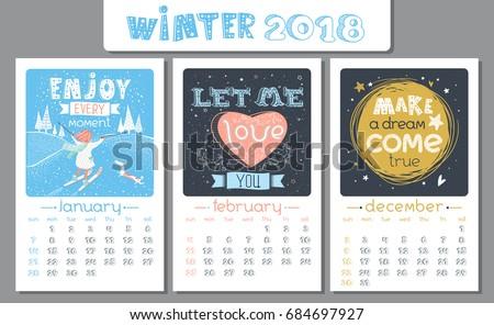 Calendar Design 2018 Year Vector Illustration Stock Vector ...