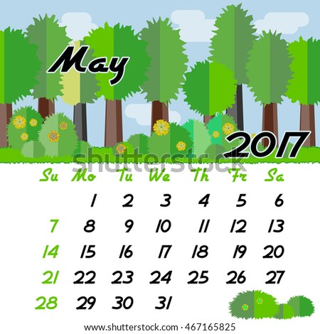 Calendar design grid with seasonal forest in flat style and dates of spring month May 2017. Vector illustration