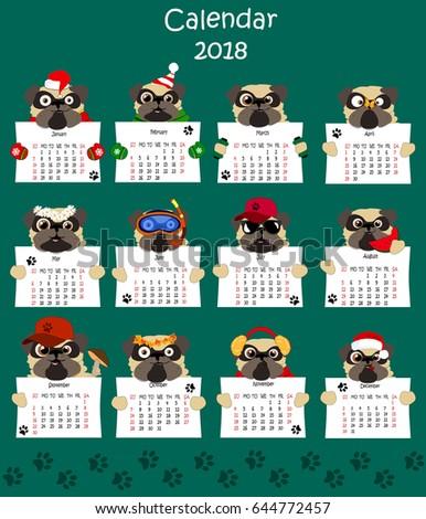 Calendar 2018 Design Funny Pugs Set Stock Vector 644772457