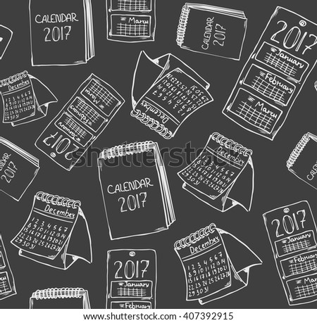 Calendar doodle pattern 2016. Hand drawn sketchy seamless pattern with different calendars. Chalkboard style illustration. - stock vector