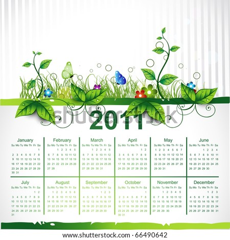 calendar eco leaf vector design - stock vector
